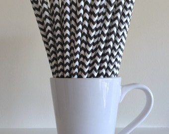 Black Chevron Paper Straws Party Supplies Party Decor Bar Cart Cake Pop Sticks Mason Jar Straws  Party Graduation