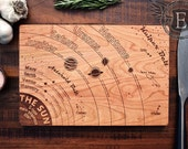 Solar System Diagram Cutting Board, Astronomy Art, Geeky Graduation Gift, Engraved Wood Kitchen Decor, Science Art, Geekery