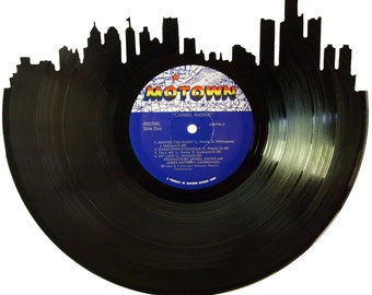 Detroit Skyline Vinyl Record Wall Art - Unique Gift - Birthday Holiday Christmas Wedding