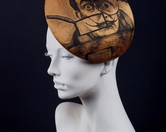 """Silk hand painted beret hat with Salvador Dali panting """"Real Seeker"""""""