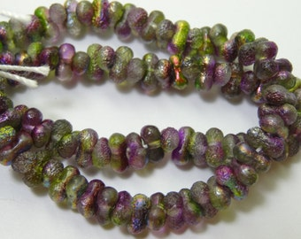 Czech Glass 3x6mm  Etch Magic Orchid  Farfalle Beads 3 Strands