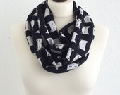 Cat Scarf, Printed Scarf, Black White Cat Scarf, Cats Circle Scarf, Animal Infinity Scarf, Unisex Cat Scarf, Cat Lovers, Designscope
