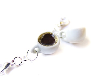 Coffee Charm, Miniature Food Jewelry, Polymer Clay Coffee, Coffee Jewelry, Caffeine Pendant, Cup of Coffee Charm