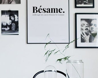 Besame, spanish quote, love print, wall decor, spanish decor, kiss me, love art, love poster, love quote, valentines day, love gift for him