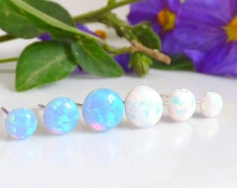 Opal Earrings, Opal Stud Earrings, White Opal Earrings, Blue Opal Stud Earrings, Blue Opal Earrings ,Gold Opal Earrings ,Opal Stud Earrings.