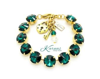 EMERALD 12mm Crystal Charm Bracelet Made With Swarovski Crystal *Pick Your Metal *Karnas Design Studio™ *Free Shipping*