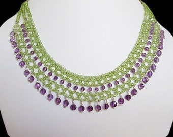 Amethyst & Peridot Beads Necklace,Designer beaded necklace,gift idea,gemstone jewellery,Amethyst necklace with Sterling Silver,mala beads