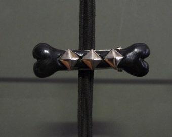 Black Bone Polymer Clay barrette hair clip