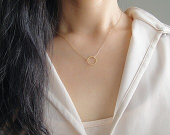 Tiny Gold Karma Necklace, Vermeil Gold Circle Charm, Gold Ring Pendant, Gold Layering Karma Necklace, Minimalist,
