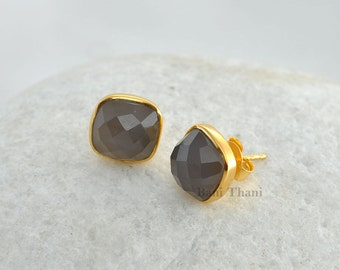 Grey Chalcedony Micron Gold Plated 925 Sterling Silver Stud Earring - #7463