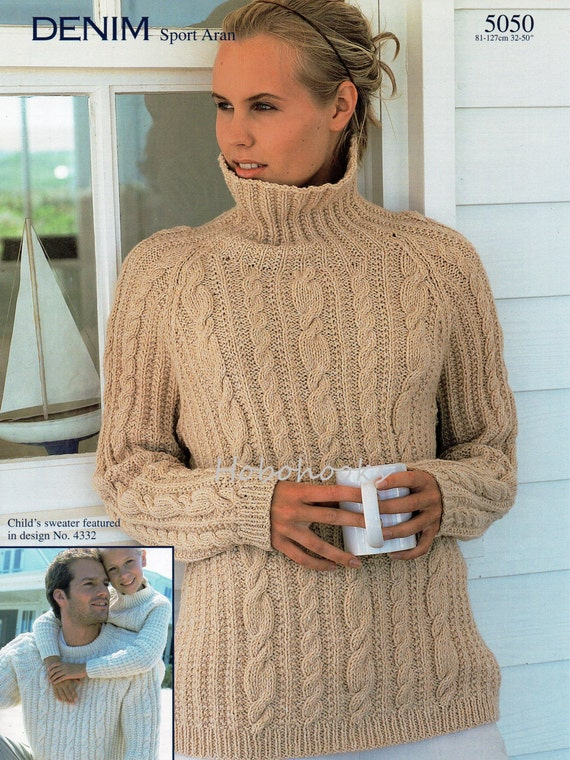Knitting Patterns For Sweaters In The Round : womens mens aran sweater knitting pattern pdf ladies cable
