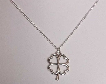 Lucky Four Leaf Clover Necklace , Irish Shamrock Necklace, Ireland , Good Luck , Silver Necklace , Handmade Jewelry , Gift