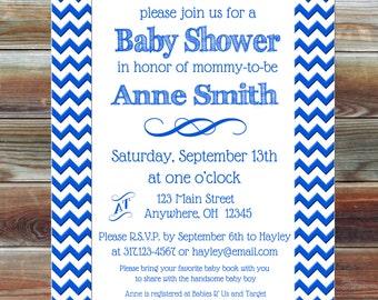 Blue Chevron Baby Boy Shower Invitation - Baby Shower Invitation Boy - Blue Baby Shower Invite - Blue Chevron Baby Shower Invite -Baby Boy