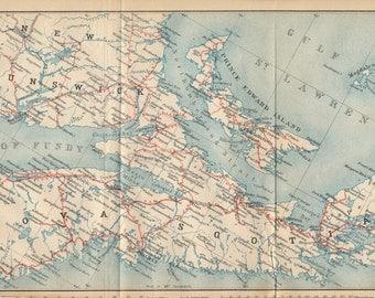 1907 Nova Scotia and New Brunswick Canada Antique Map