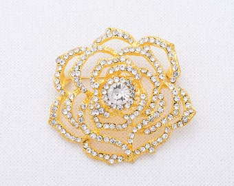 Rhinestone Gold Brooch Wedding Brooch Gold Bridal Brooch Wedding Gold Brooch Gold Sash Pin