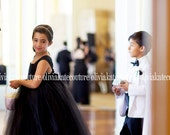 Black White Wedding Flower Girl Dress Floor Length