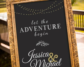Gold Wedding Decor, Black & Gold Party Decor, Gatsby Wedding, chalkboard Wedding Sign, Hashtag Wedding Sign, Art Deco Wedding, Adventure