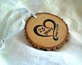 CUSTOM ANNIVERSARY ORNAMENT Personalized Wedding Ornament Custom Wedding Bouquet Charm Personalized Wedding Party Gift Rustic Wood Ornament