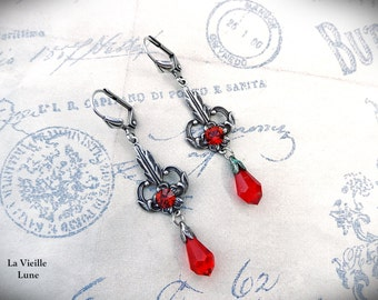 Red Crystal Gothic Earrings, Red Victorian Earrings, Crystal Victorian Jewelry, Gothic Jewelry