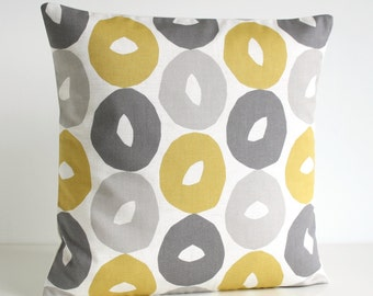 Mustard Pillow Cover, Yellow and Gray Pillow Sham, Yellow and Grey Cushion Cover, Scandi Pillows, Pillow Case - Scandi Circles Mustard