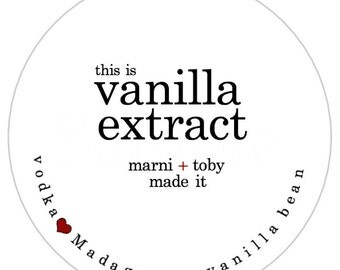 Homemade Vanilla Extract Bottle Label. Set of 100 Stickers. Personalized Food Labels. Custom Wedding Favors. Homemade Vanilla Labels.