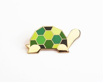Tortoise Brooch - Green Geometric Metal Pin Turtle