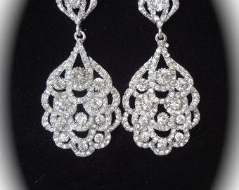 Peacock rhinestone earrings ~ Crystal statement earrings ~ Art Deco crystal earrings ~ Gatsby wedding earrings ~ Brides earrings ~ NINA