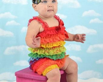 Rainbow Birthday Cake Smash Romper and Matching Headband