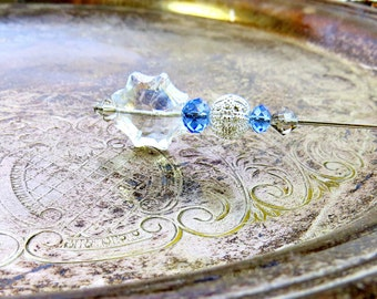 Hat Pin Crystal Silver Blue Crystal Victorian Stick Pin