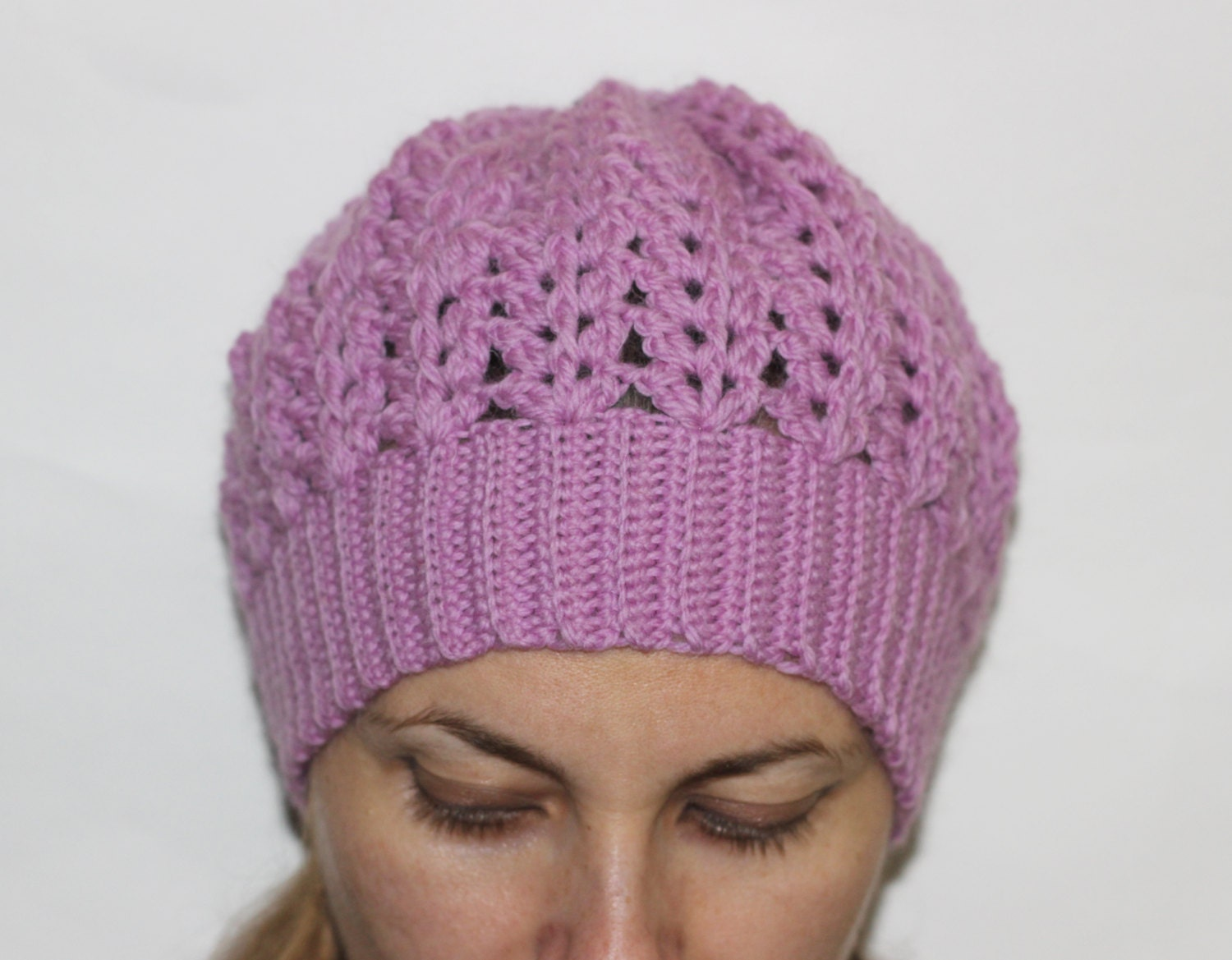 Crochet Lace Patterns Step By Step : PDF PATTERN step-by-step TUTORIAL Crochet lace hat with