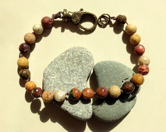 Mans Earth Tones Jasper Bracelet - Browns and Tans Handtied