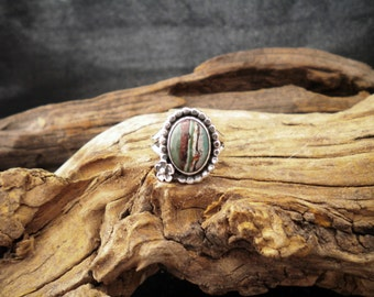 Size 7.5 - Rainbow Cal silica  Sterling Silver Ring Signed Piece HandcraftedSWDesigns