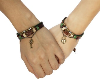 Couples Gift Bracelet, Boyfriend Girlfriend Jewelry, Leather Heart Lock and Key Braclet, Anniversary Gift CP-367