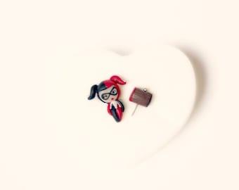Harley Quinn handmade stud  or magnetic earrings. Harley Quinn jewelry. Dc comic jewelry. Dc comic  earrings.  Clay. Kawaii comic.