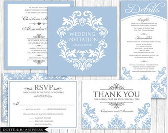 Damask Elegant Square - Printable Wedding Invitation Set - Blue Wedding - Custom Colors