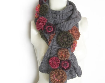 Wool Scarf Wrap Crochet Grey with Flowers Crocheted Spring Scarf Floral Hand Knittined