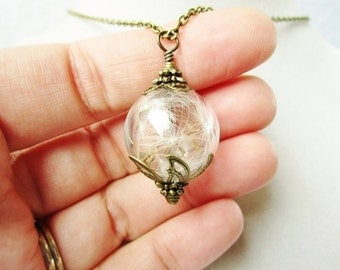 Terrarium Necklace, Dandelion Seed Glass Orb in Bronze or Silver, Bridesmaid Gift