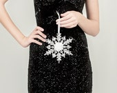 Single Crystal Snowflake Hanging Bouquet for Winter Wedding - Bridesmaid & Flower Girl