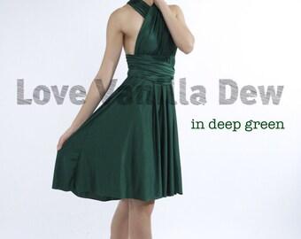 Bridesmaid Dress Infinity Dress Straight Hem Deep Green Knee Length Wrap Convertible Dress Wedding Dress