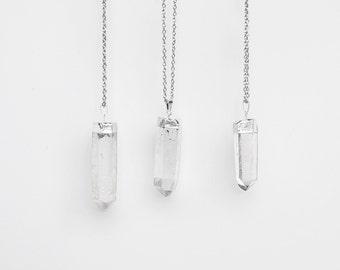 Large Quartz Crystal Pendant Necklace / silver plated raw quartz necklace / 0664