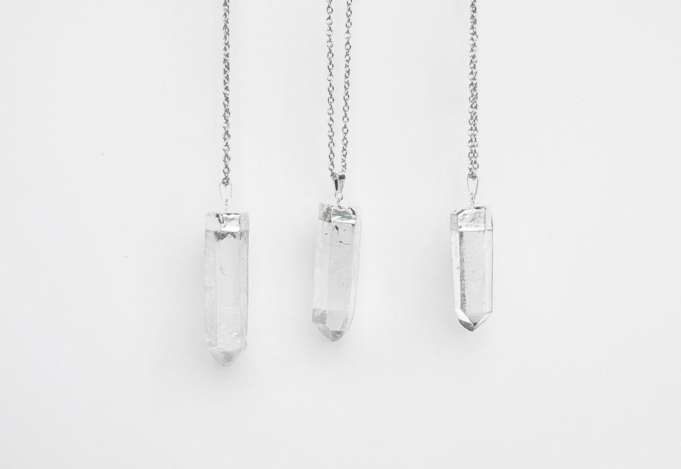 large quartz crystal pendant necklace silver plated raw. Black Bedroom Furniture Sets. Home Design Ideas