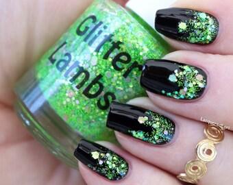 Lime Green Eyeshadow Nail Polish-Glitter Lambs Nail Polish-Spring-Nail Polish-Custom Nail Polish-Handmade Nail Polish-Glitter Nail Polish