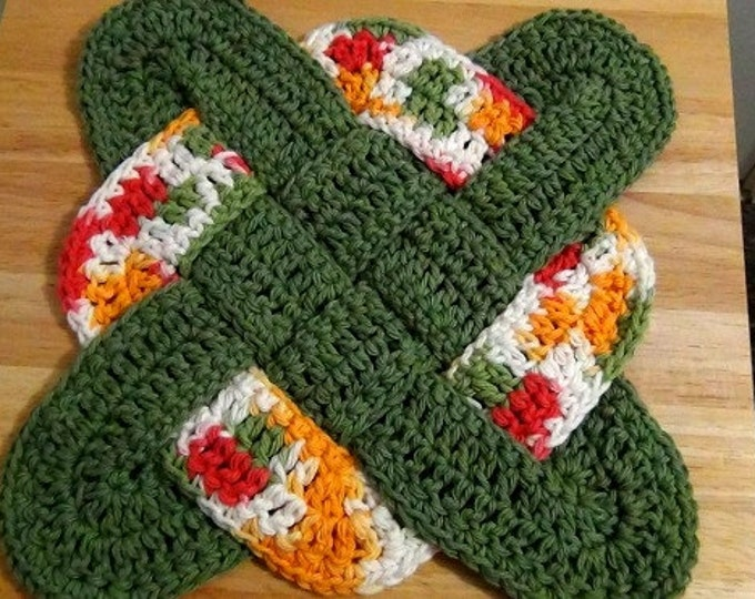 Crochet Hot Pad - Celtic Knot Design Hot Pad - Fall Colors Handmade Trivet - Thanksgiving Decor