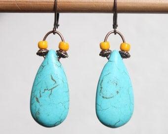 Turquoise Earrings Boho Earrings Bohemian Ethnic Urban Earrings Copper Dangle Drop Earrings Jewelry  Chunky Long Earrings Gift Ideas
