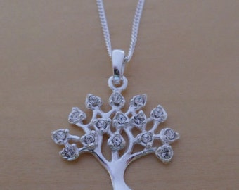 "925 Sterling Silver Crystal Tree of LIFE Pendant / Charm on 16, 18 or 20"" Curb Chain"