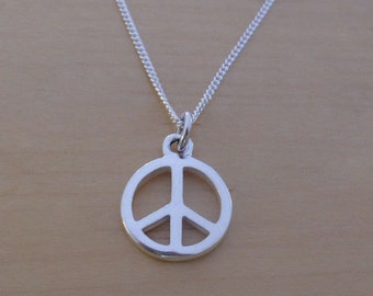 "925 Sterling Silver Peace Sign Pendant, Charm on 16, 18 or 20"" Curb Chain"