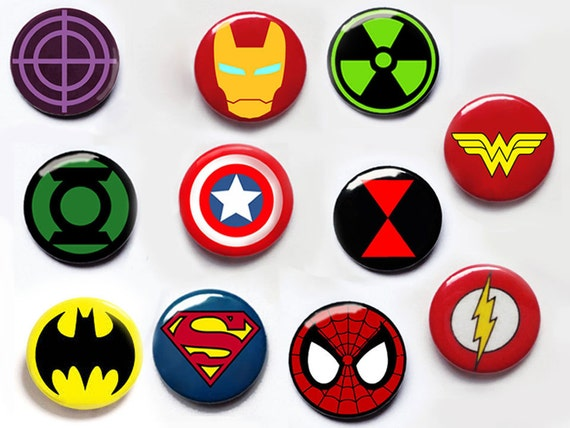 items similar to superhero pin button badges captain. Black Bedroom Furniture Sets. Home Design Ideas