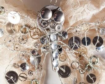 Big-Eyed Silver Butterkey Hair-Clip and Brooch - Steampunk Goth Victorian