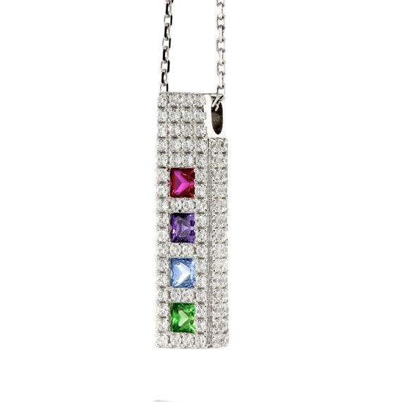 Sterling Silver Personalized Mothers Pendant w/ 1 2 3 4 5 or 6 Princess Cut Birthstones for Custom Family Jewelry