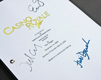 Casino Royale James Bond Film Movie Script with Signatures / Autographs Reprint Unique Gift